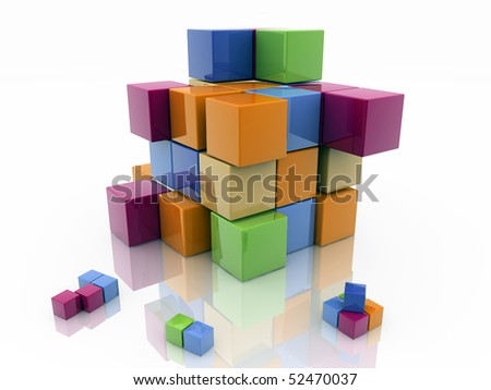 colored cubes on white background