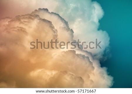 Colored cumulonimbus clouds for background, stormy weather covering sky