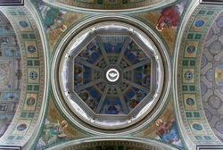 Colored dome. Church in Poland.
