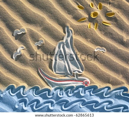 Colored drawing of sailboat on sand