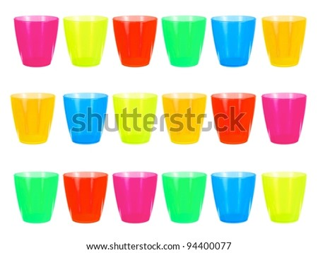 Colored drinking cups isolated against a white background