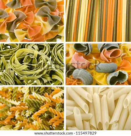 Colored dry  Italian pasta assortment collage top view surface