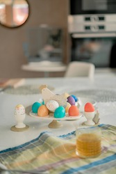 colored easter eggs. background hollidays concept