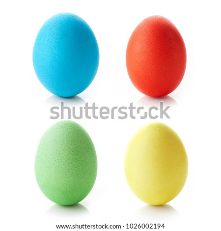 Colored easter eggs isolated on white background