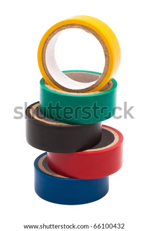 colored electrical tape on white background