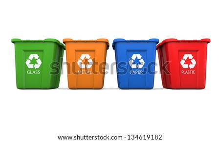 Colored empty recycle bins isolated on white background