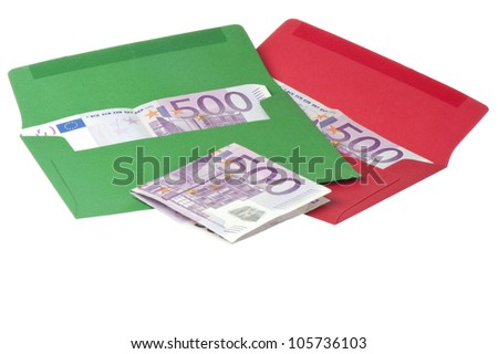 Colored envelope with Euros on white background