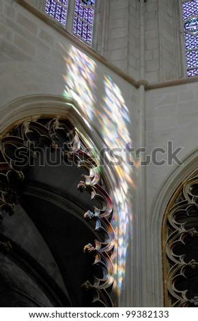Colored flecks of sunlight on the walls of the Batalha-Santa Maria da Vitoria-Dominican abbey - Portugal