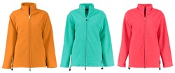 Colored fleece jackets with a zipper. Unisex style. Isolated image on a white background. Set.