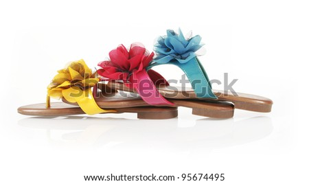 4f8c22fb5cfe Free photos Orange flip-flops with flowers on a white background ...