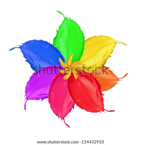 Colored flower blossom made of paint splashes, isolated on white background