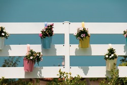 Colored flowers in metallic colored vases hanging from a white fence with a blue sky in the background. Summer atmosphere in the garden.