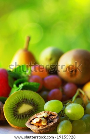 Colored fresh fruits in Autumn .