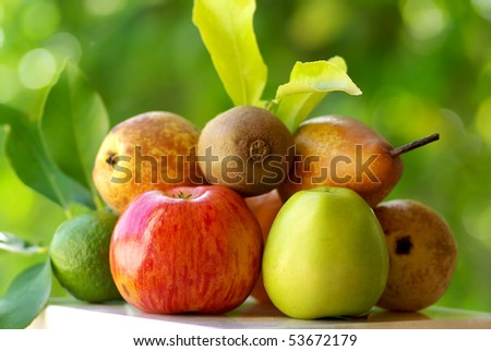 Colored fruits.