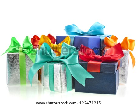 colored gift boxes with bows isolated on white background