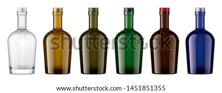 Colored glass bottles mockup. With cap version. 3d rendering.  #1451851355