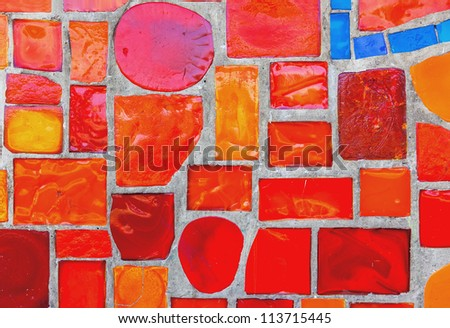 Colored glass-ceramic tiles on the wall - Moscow
