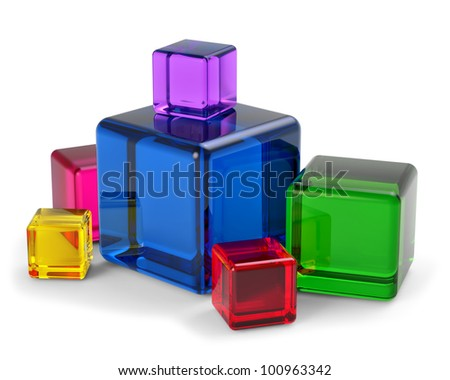 colored glass cubes for playing and development