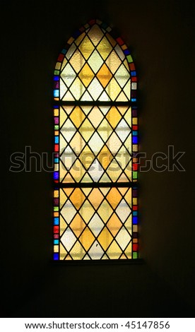 colored glass, stained window church gothic Poznan Poland