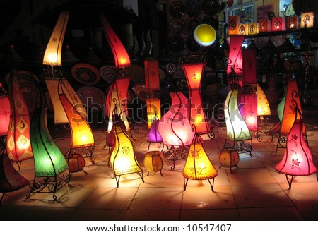 Colored ground lamps in Agadir - Morocco.