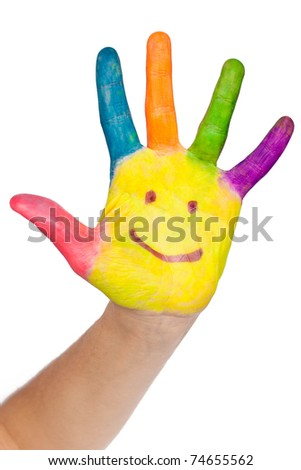 Colored hand with smile painted in colorful paints as logo. Isolated on white background with clipping path