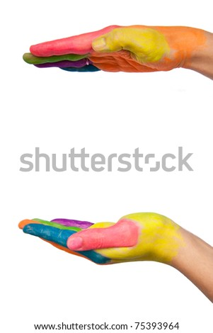 Colored hands making a shape for protection. Isolated on white