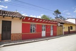 Colored houses in San Cristobal de las Casas, Mexico