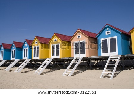 colored houses on the beach