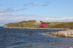 Colored houses on the Ile aux Marins in Saint Pierre and Miquelon
