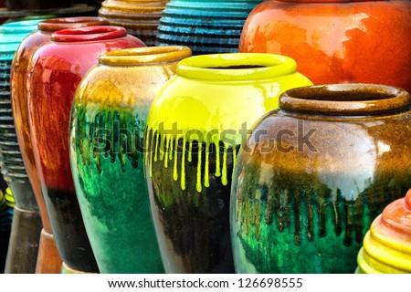 Colored jars.