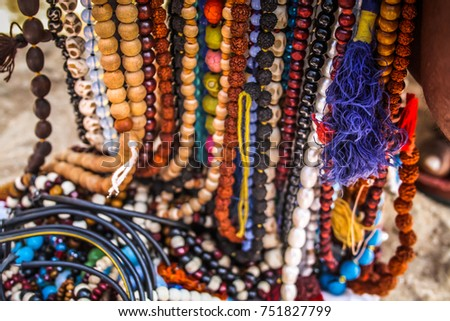 Colored jewelry from the beach GOKARNA OM BEACH INDIA  #751827799