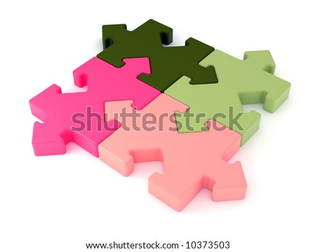 Colored jigsaw puzzle. Arrow joint. Rendered image.