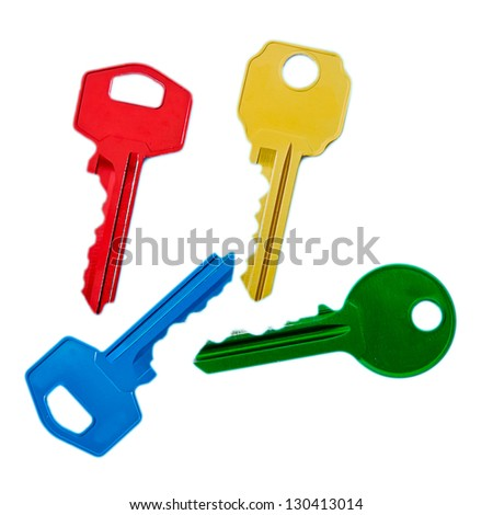 colored keys on white background