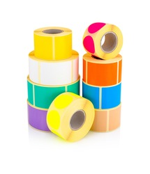 Colored label rolls isolated on white background with shadow reflection, clipping, vector path. Color reels of stickers for printer. Labels for direct thermal or thermal transfer printing.