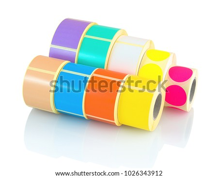 Colored label rolls isolated on white background with shadow reflection. Color reels of labels for printers. Labels for direct thermal or thermal transfer printing. Square and circle labels background #1026343912