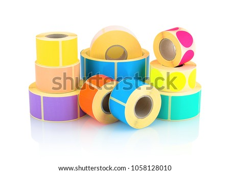 Colored label rolls isolated on white background with shadow reflection. Color reels of labels for printers. Labels for direct thermal or thermal transfer printing. Square and circle labels background #1058128010