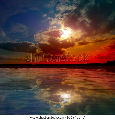 colored lake at the sunset #106945847