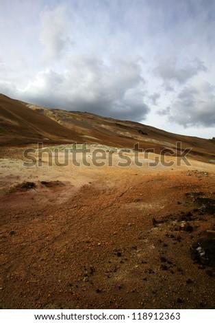 Colored landscape at Namaskaro Hverarond Iceland