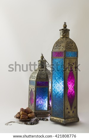 Colored Lanterns with Rosary and Dates