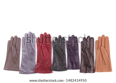 Colored leather gloves isolate on a white background. Collection of leather gloves.