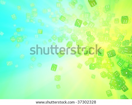 Colored light 3d dice pile abstract, horizontal background