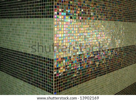 Colored light on a tile wall