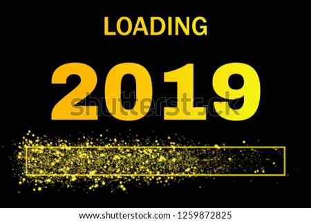 colored loading bar with glitter for the year 2019 #1259872825