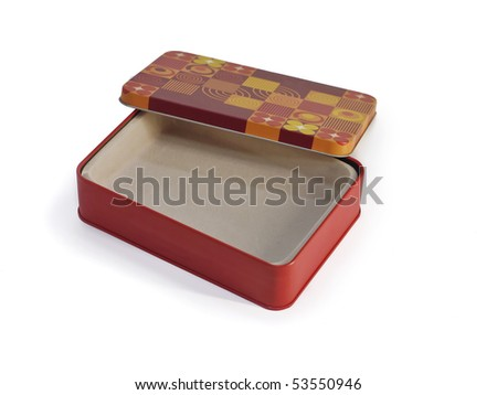 Colored metal box with cap isolated on white