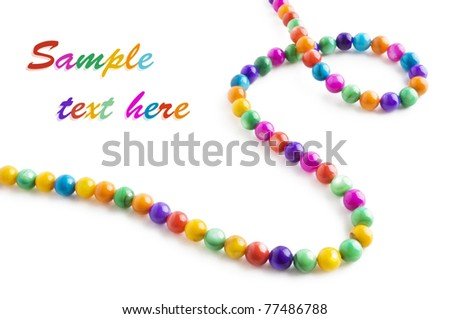 Colored natural pearl necklace isolated on white background with sample text