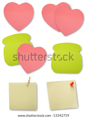 Colored notes paper, clipping path, soft shadows
