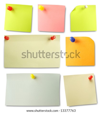 Colored notes paper. Soft shadows.
