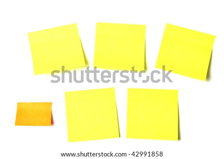 Colored notes papers on white background
