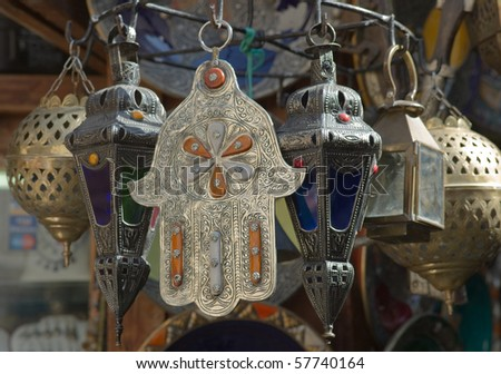 Colored oil lamps in a market in the Medina in Fes, Morocco - stock photo