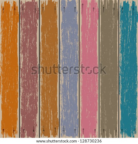 Colored old wooden fence.Raster version